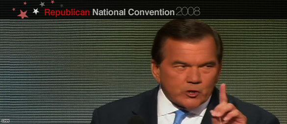 Former PA Governor Tom Ridge addressing the Republican National Convention. (CNN)