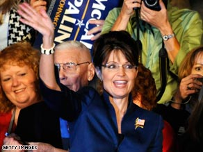 Alaska Gov. Sarah Palin campaigns in Lee's Summit, Missouri, with Sen. John McCain Monday.