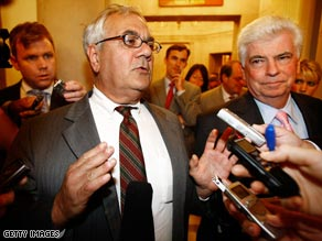Rep. Barney Frank, left, and Sen. Chris Dodd had a serious outlook about the economy Thursday evening.
