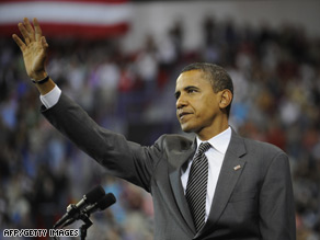 Sen. Barack Obama greets supporters during a rally in Green Bay, Wisconsin, on Monday.