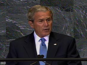 President Bush addresses the United Nations General Assembly on Tuesday morning.