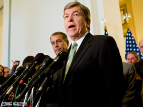 House Republicans are sending Rep. Roy Blunt of Missouri to bailout negotiations at the Capitol.
