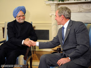 President Bush, who supports the deal, meets with India Prime Minister Manmohan Singh last week.