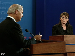 Poll respondents give Sen. Joe Biden the edge over Gov. Sarah Palin in ability to express views.