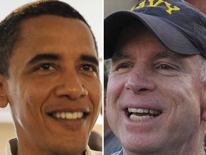 Democrat Barack Obama, left, is gaining ground on Sen. John McCain in some Republican strongholds.