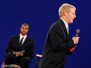 Students stand in for the candidates during a rehearsal Monday at Belmont University in Nashville, Tennessee.