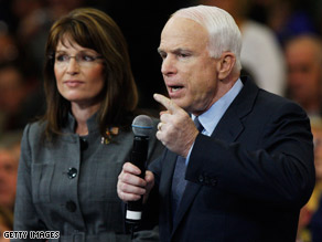 Sen. John McCain and Alaska Gov. Sarah Palin campaign in Waukesha, Wisconsin, on Thursday.