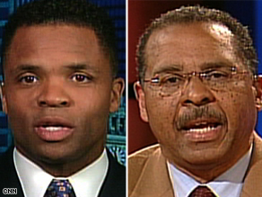 McCain supporter Kenneth Blackwell, right, and Rep. Jesse Jackson Jr. praised a calming of campaign rhetoric.