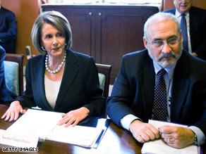 House Speaker Nancy Pelosi met with Nobel prize winner Joseph Stiglitz and other economic experts Monday.