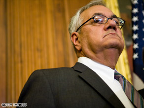 "Rep. Barney Frank calls the Bush adminstration's plan to limit bank CEO pay ""historic."""