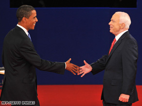 Sens. Barack Obama and John McCain greet each other before last week's debate in Nashville, Tennessee.