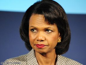"Secretary of State Condoleezza Rice is playing a ""supporting role"" in dealing with the money crisis."