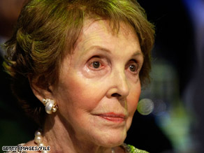 Former first lady Nancy Reagan is shown at an event in the nation's capital in September.