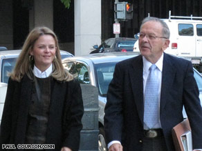 Sen. Ted Stevens and his daughter Beth Stevens arrive Monday at the federal courthouse.