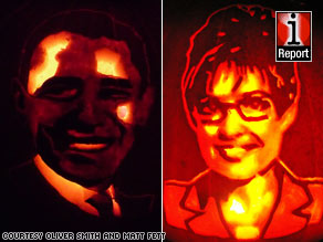 Oliver Smith and Matt Fett created these impressive pumpkin portraits of Barack Obama and Sarah Palin.