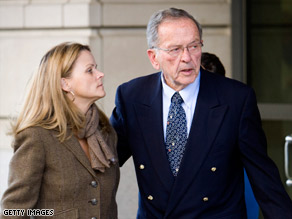 Sen. Ted Stevens leaves the federal courthouse Thursday with his daughter Beth Stevens.