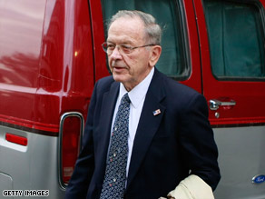Sen. Ted Stevens leaves federal court Monday as the jury deliberated in his corruption trial.