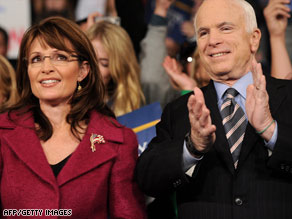 Gov. Sarah Palin and Sen. John McCain campaign in Hershey, Pennsylvania, on Tuesday.
