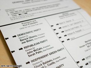 An absentee ballot from Arlington County in Virginia shows the names of the general election candidates.