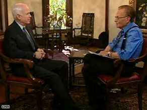 Sen. John McCain sits down with CNN's Larry King in Tampa, Florida, Wednesday.