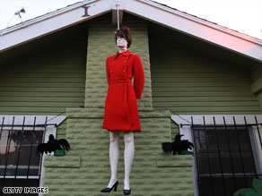 A Halloween display resembling Sarah Palin hanging in West Hollywood.