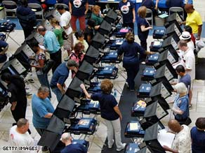 Voters cast early ballots Wednesday at a shopping mall in Las Vegas, Nevada.