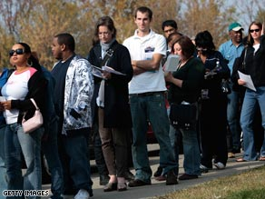 iReporter Emilee Truelove snapped this shot of long lines Saturday for early voting in Oklahoma.