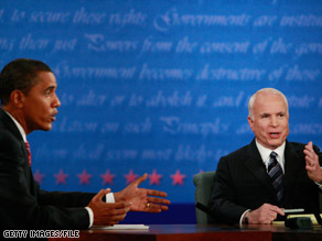 Barack Obama and John McCain, here in the final debate last month at Hofstra University, wrote dueling columns.