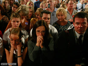Supporters of John McCain react as their candidate concedes in Phoenix, Arizona.