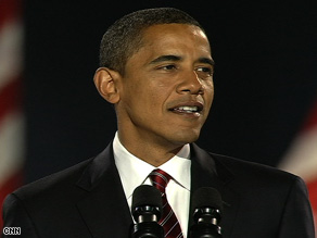 Barack Obama addresses a crowd of more than 200,000 at Grant Park in Chicago, Illinois.