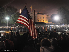More than 200,000 gathered at Chicago's Grant Park to hear Barack Obama claim victory Tuesday night.