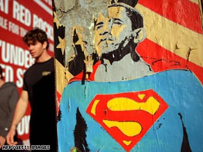 A poster this week in Los Angeles, California, depicts President-elect Barack Obama as Superman.