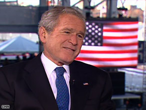 President Bush says his wife told him that as president, he should watch his words carefully.