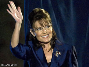 Gov. Sarah Palin waves to supporters on Election Night.