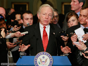 Sen. Joe Lieberman speaks Tuesday after Democrats allowed him to keep his committee chairmanship.