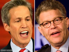 Republican Sen. Norm Coleman, left, has a slim lead over Democrat Al Franken in Minnesota's Senate race.