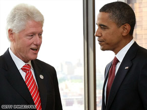U.S. President-elect Barack Obama, right, with former U.S. President Bill Clinton, left.