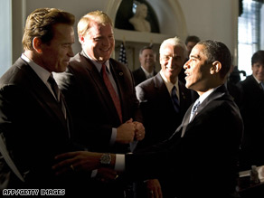 President-elect Barack Obama shakes hands with California Gov. Arnold Schwarzenegger on Tuesday.