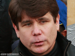 Illinois Gov. Rod Blagojevich talks to laid-off workers in Chicago on Monday.