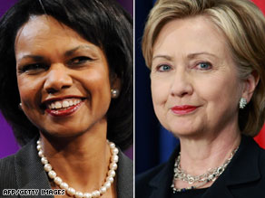 Secretary of State Condoleezza Rice, left, and Sen. Hillary Clinton dined together Monday night.