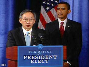 Steven Chu speaks at a news conference after President-elect Barack Obama named him energy secretary.