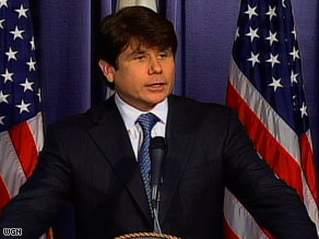 Illinois Gov. Rod Blagojevich spoke to reporters at a news conference Friday but did not take questions.