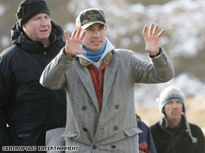 Roland Emmerich gives his actors direction while filming on location for his latest film, &quot;10,000 BC.&quot;
