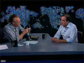 "Director Oliver Stone, right, told Larry King there is no ""hate or malice"" in the movie ""W."""