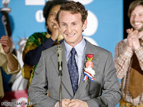 "Sean Penn plays San Francisco City Supervisor Harvey Milk in ""Milk,"" directed by Gus Van Sant."