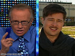 Brad Pitt tells CNN's Larry King he grew a moustache for the movie he's filming.