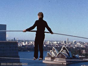 """Man on Wire""  looks back at Frenchman Philippe Petit who, in the 1970s, set a wire between New York's Twin Towers and walked the tightrope across it."