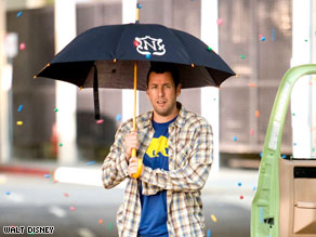 "Adam Sandler had to cope with more than just falling gumballs in his latest comedy, ""Bedtime Stories."""