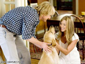 "In ""Marley & Me,"" Owen Wilson and Jennifer Aniston's characters welcome a dog into their lives."