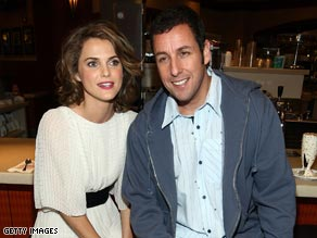 "Keri Russell, here with ""Bedtime Stories"" co-star Adam Sandler, has a young son."